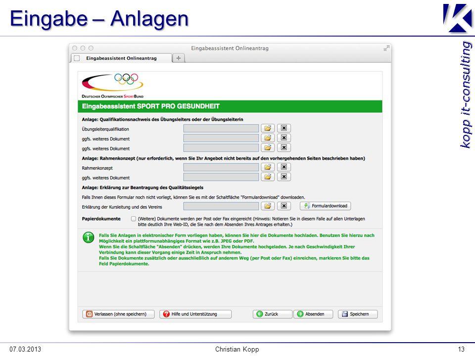 kopp it-consulting Eingabe – Anlagen 07.03.2013Christian Kopp13