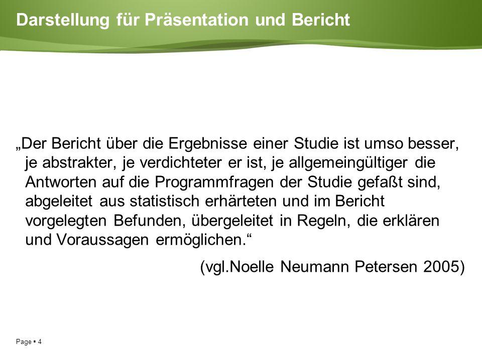 """Page  4 Darstellung für Präsentation und Bericht """"Der Bericht über die Ergebnisse einer Studie ist umso besser, je abstrakter, je verdichteter er ist, je allgemeingültiger die Antworten auf die Programmfragen der Studie gefaßt sind, abgeleitet aus statistisch erhärteten und im Bericht vorgelegten Befunden, übergeleitet in Regeln, die erklären und Voraussagen ermöglichen. (vgl.Noelle Neumann Petersen 2005)"""
