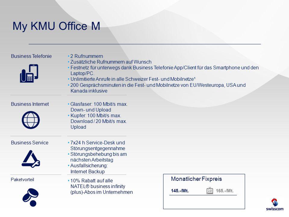 My KMU Office M Business Telefonie Business Internet Business Service Paketvorteil 2 Rufnummern Zusätzliche Rufnummern auf Wunsch Festnetz für unterwegs dank Business Telefonie App/Client für das Smartphone und den Laptop/PC.
