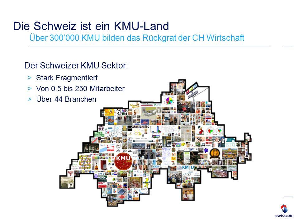 Die Schweiz ist ein KMU-Land Über 300'000 KMU bilden das Rückgrat der CH Wirtschaft Der Schweizer KMU Sektor:  Stark Fragmentiert  Von 0.5 bis 250 Mitarbeiter  Über 44 Branchen