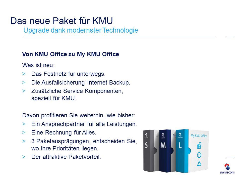 Das neue Paket für KMU Upgrade dank modernster Technologie Von KMU Office zu My KMU Office Was ist neu:  Das Festnetz für unterwegs.