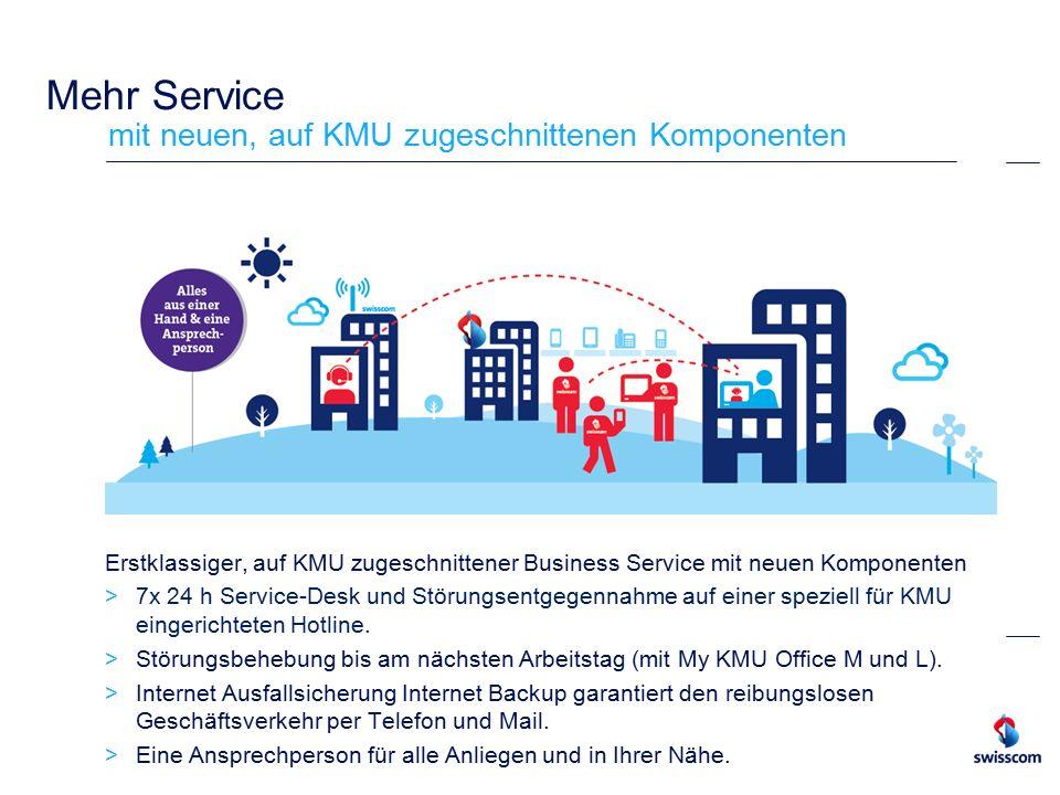 Mehr Service mit neuen, auf KMU zugeschnittenen Komponenten Erstklassiger, auf KMU zugeschnittener Business Service mit neuen Komponenten  7x 24 h Service-Desk und Störungsentgegennahme auf einer speziell für KMU eingerichteten Hotline.