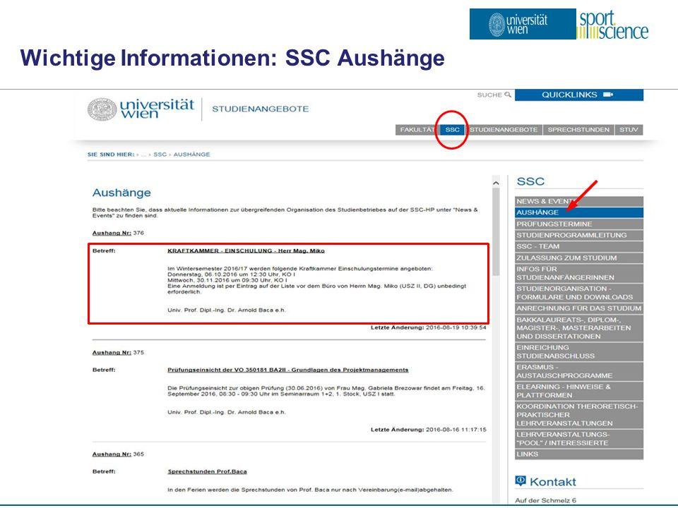 ISW – Institut für Sportwissenschaft Wichtige Informationen: SSC Aushänge