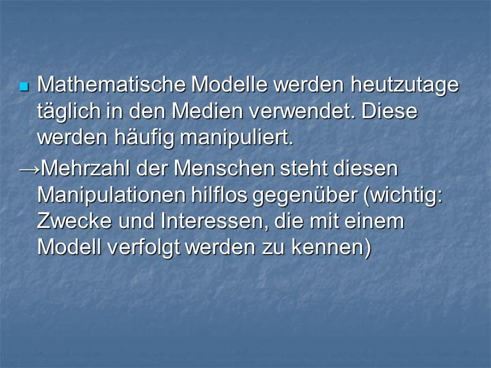 Mathematische Modelle werden heutzutage täglich in den Medien verwendet.