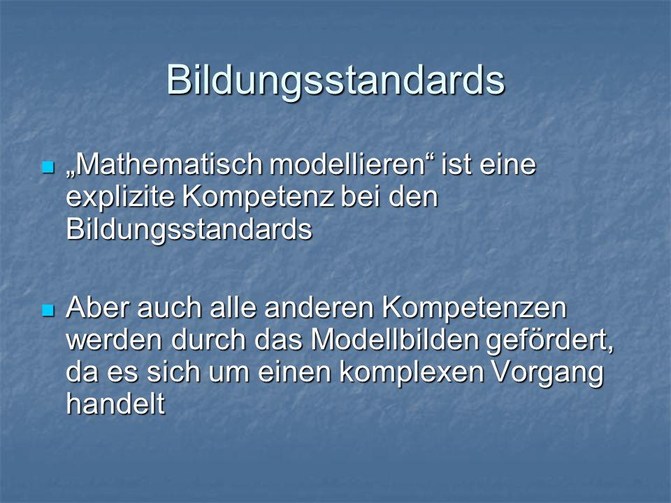 """Bildungsstandards """"Mathematisch modellieren ist eine explizite Kompetenz bei den Bildungsstandards """"Mathematisch modellieren ist eine explizite Kompetenz bei den Bildungsstandards Aber auch alle anderen Kompetenzen werden durch das Modellbilden gefördert, da es sich um einen komplexen Vorgang handelt Aber auch alle anderen Kompetenzen werden durch das Modellbilden gefördert, da es sich um einen komplexen Vorgang handelt"""