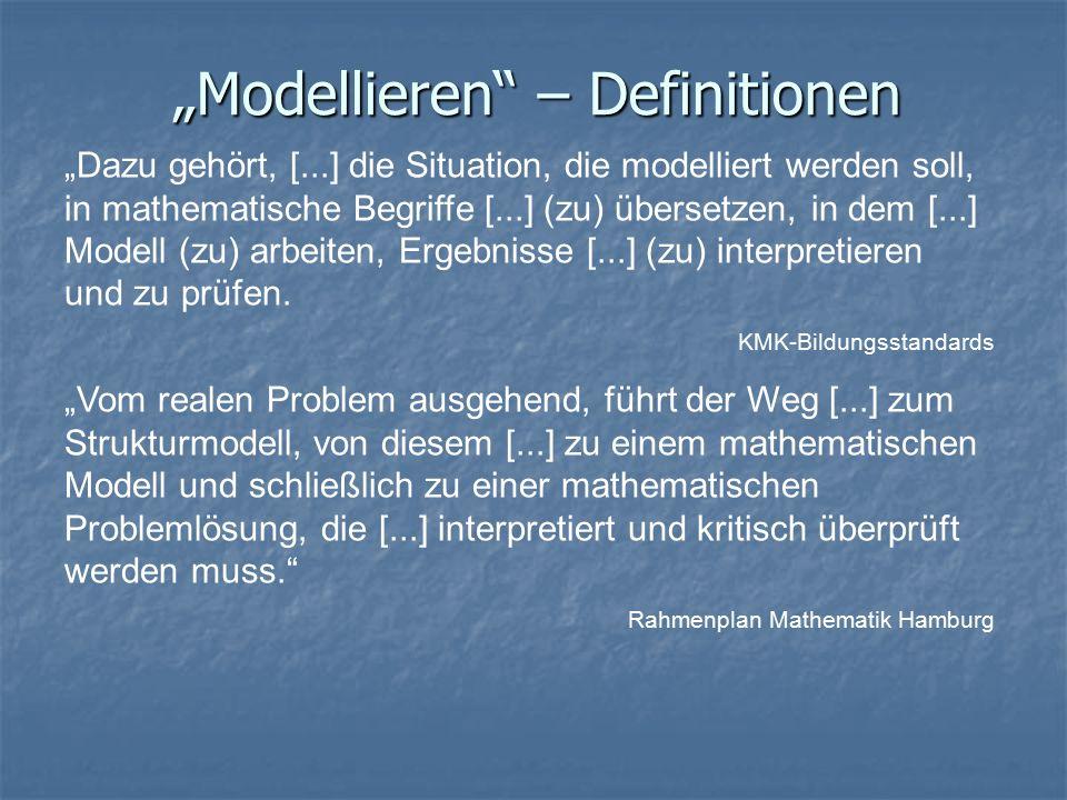 """""""Modellieren – Definitionen """"Dazu gehört, [...] die Situation, die modelliert werden soll, in mathematische Begriffe [...] (zu) übersetzen, in dem [...] Modell (zu) arbeiten, Ergebnisse [...] (zu) interpretieren und zu prüfen."""