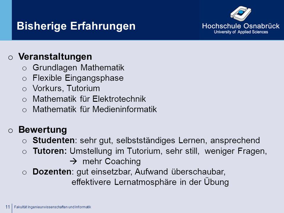 Fachhochschule Osnabrück University of Applied Sciences Nutzungstatistik Fakultät Ingenieurwissenschaften und Informatik 10