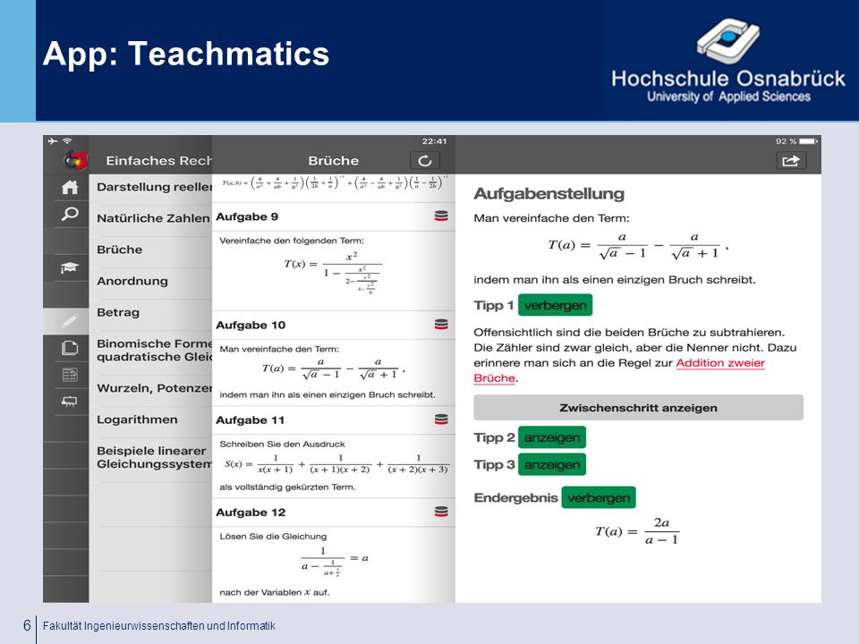 Fachhochschule Osnabrück University of Applied Sciences App: Teachmatics Fa.