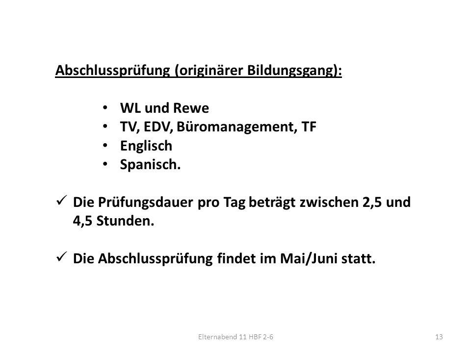 Elternabend 11 HBF 2-613 Abschlussprüfung (originärer Bildungsgang): WL und Rewe TV, EDV, Büromanagement, TF Englisch Spanisch.