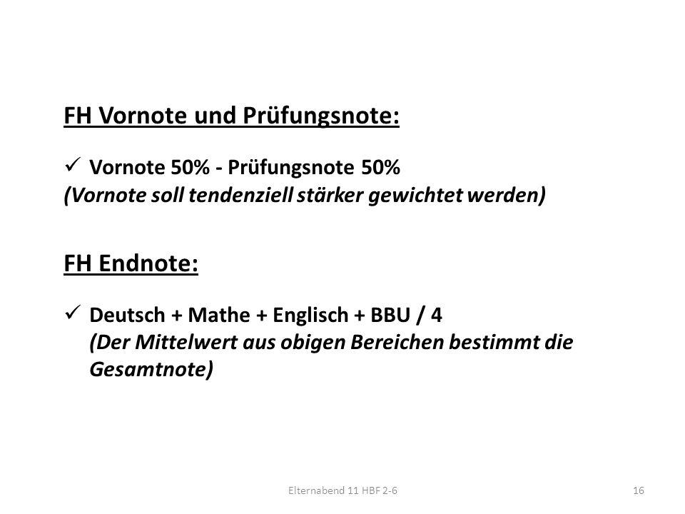 Elternabend 11 HBF 2-616 FH Vornote und Prüfungsnote: Vornote 50% - Prüfungsnote 50% (Vornote soll tendenziell stärker gewichtet werden) FH Endnote: Deutsch + Mathe + Englisch + BBU / 4 (Der Mittelwert aus obigen Bereichen bestimmt die Gesamtnote)