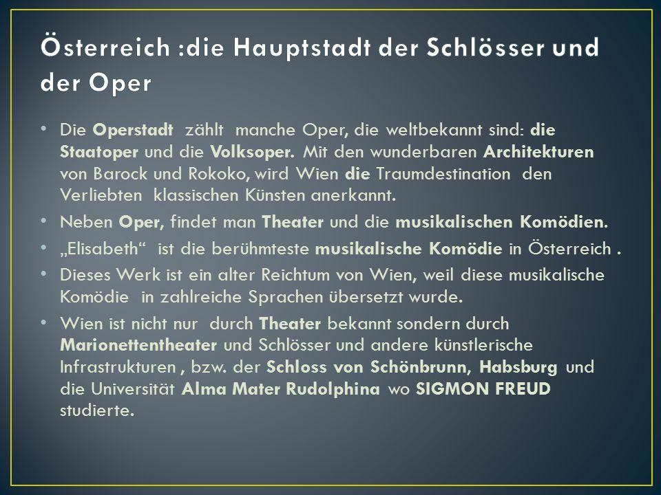 Die Operstadt zählt manche Oper, die weltbekannt sind: die Staatoper und die Volksoper.