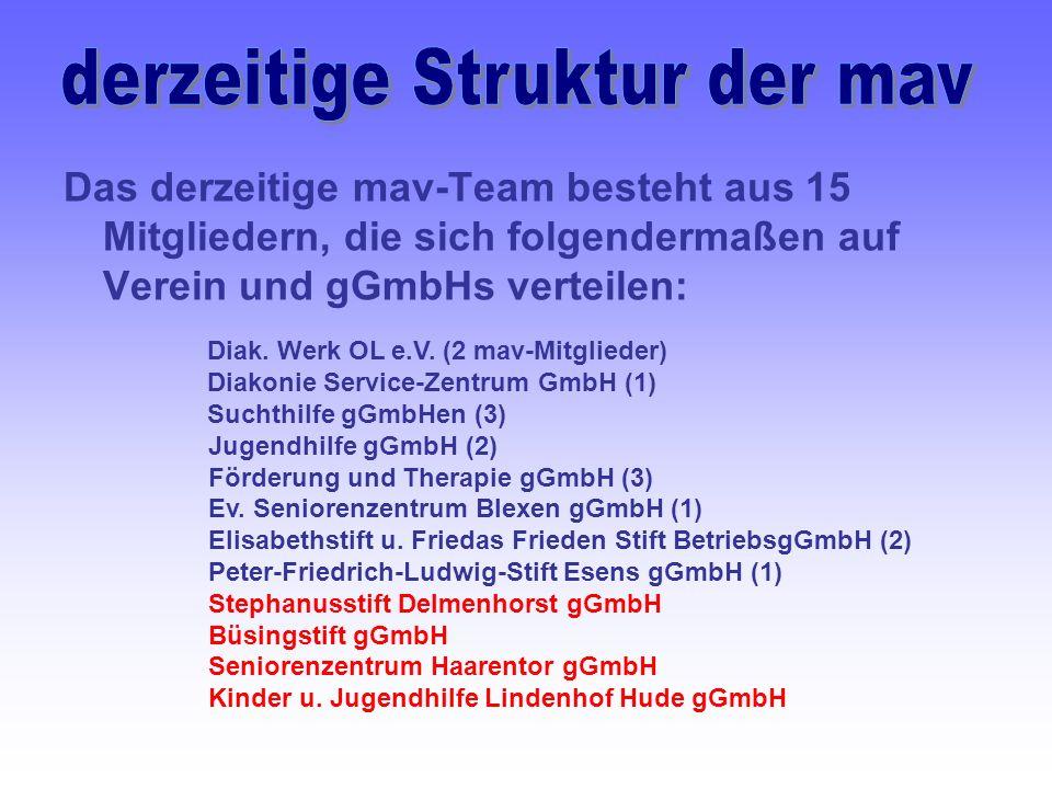 Das derzeitige mav-Team besteht aus 15 Mitgliedern, die sich folgendermaßen auf Verein und gGmbHs verteilen: Diak.