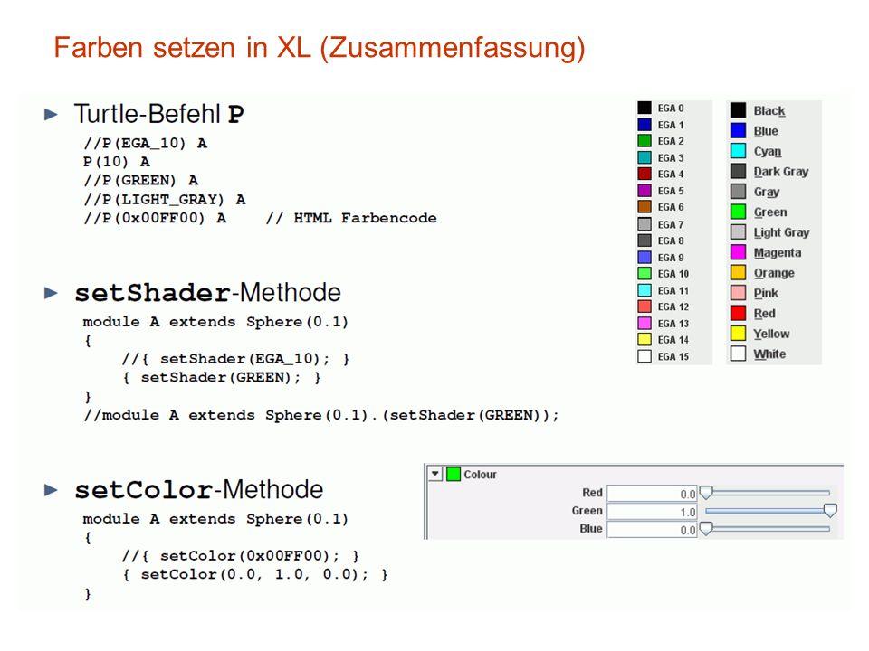 Farben setzen in XL (Zusammenfassung)
