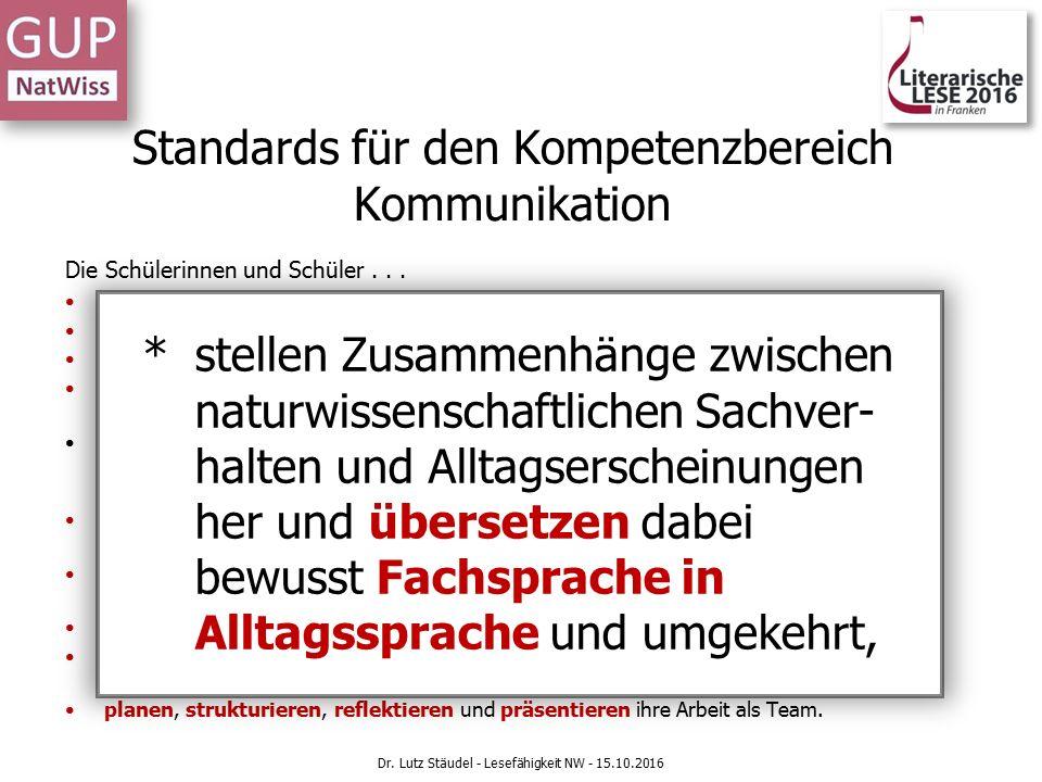 Standards für den Kompetenzbereich Kommunikation Die Schülerinnen und Schüler...