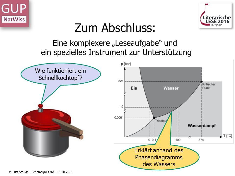 """Zum Abschluss: Eine komplexere """"Leseaufgabe und ein spezielles Instrument zur Unterstützung Wie funktioniert ein Schnellkochtopf."""