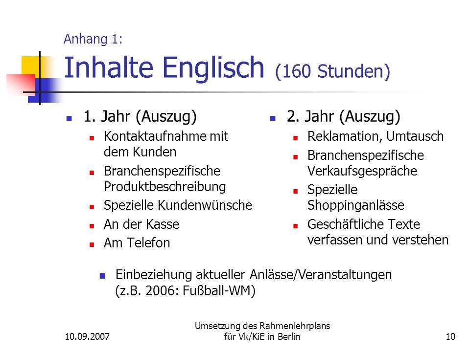 10.09.2007 Umsetzung des Rahmenlehrplans für Vk/KiE in Berlin10 Anhang 1: Inhalte Englisch (160 Stunden) 1.