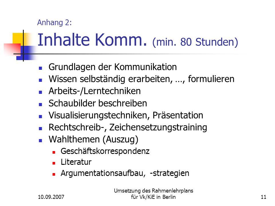 10.09.2007 Umsetzung des Rahmenlehrplans für Vk/KiE in Berlin11 Anhang 2: Inhalte Komm.