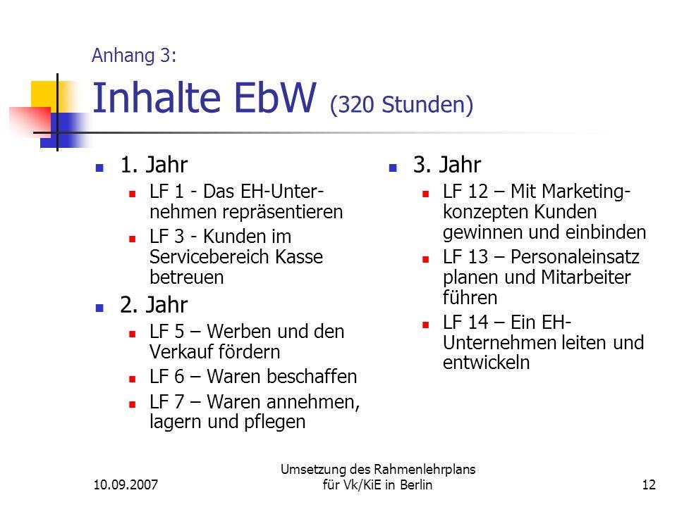 10.09.2007 Umsetzung des Rahmenlehrplans für Vk/KiE in Berlin12 Anhang 3: Inhalte EbW (320 Stunden) 1.