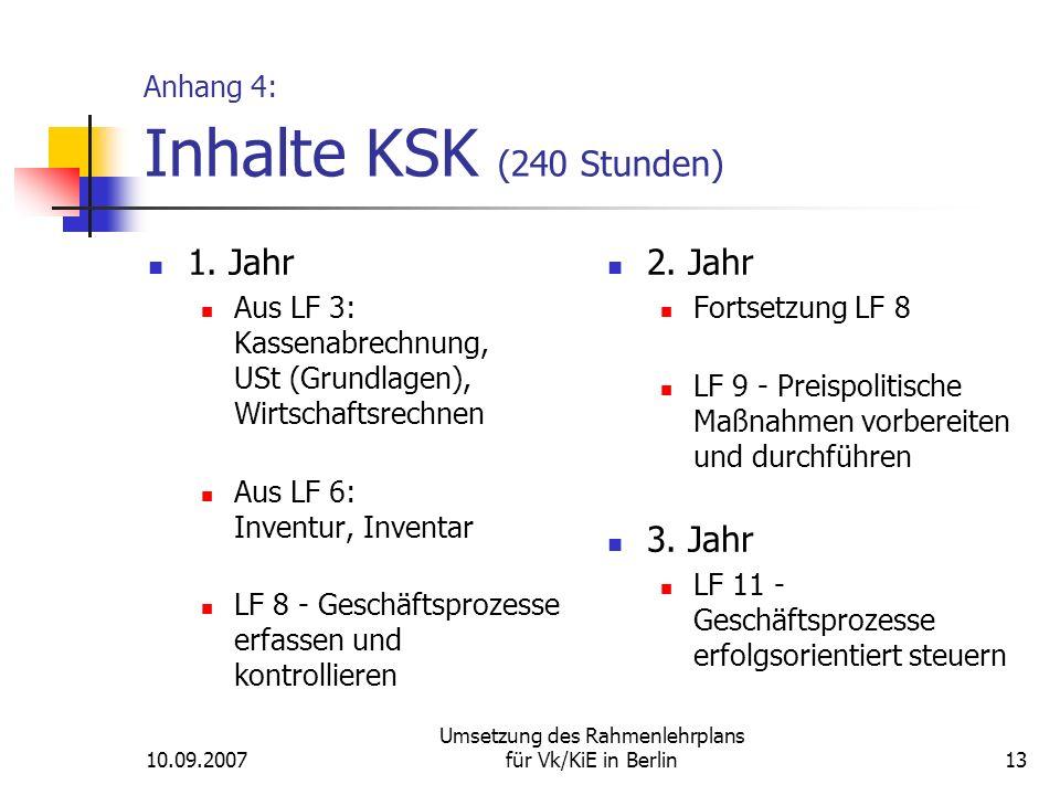 10.09.2007 Umsetzung des Rahmenlehrplans für Vk/KiE in Berlin13 Anhang 4: Inhalte KSK (240 Stunden) 1.