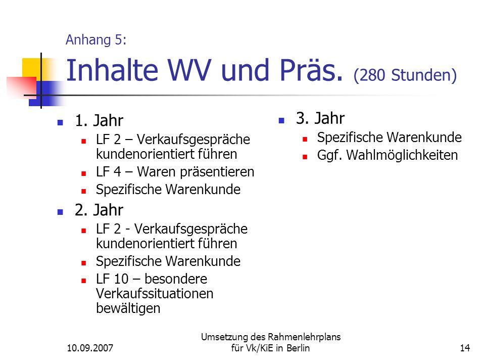 10.09.2007 Umsetzung des Rahmenlehrplans für Vk/KiE in Berlin14 Anhang 5: Inhalte WV und Präs.