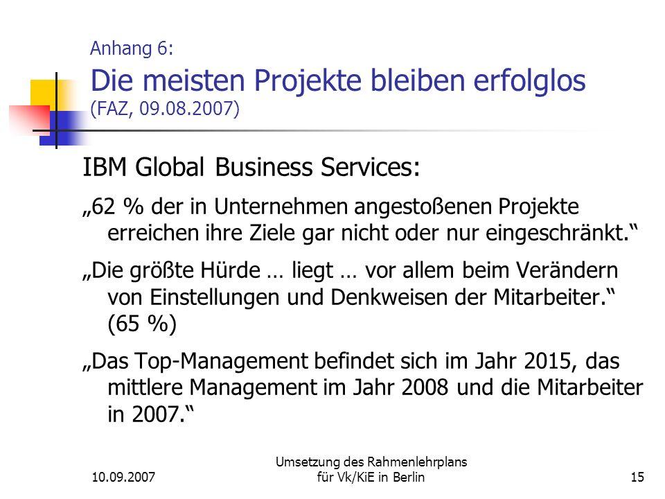 """10.09.2007 Umsetzung des Rahmenlehrplans für Vk/KiE in Berlin15 Anhang 6: Die meisten Projekte bleiben erfolglos (FAZ, 09.08.2007) IBM Global Business Services: """"62 % der in Unternehmen angestoßenen Projekte erreichen ihre Ziele gar nicht oder nur eingeschränkt. """"Die größte Hürde … liegt … vor allem beim Verändern von Einstellungen und Denkweisen der Mitarbeiter. (65 %) """"Das Top-Management befindet sich im Jahr 2015, das mittlere Management im Jahr 2008 und die Mitarbeiter in 2007."""