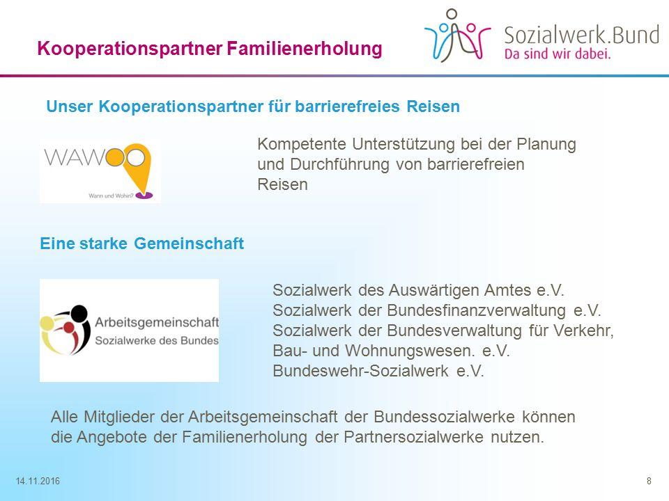 14.11.20168 Kooperationspartner Familienerholung Kompetente Unterstützung bei der Planung und Durchführung von barrierefreien Reisen Sozialwerk des Auswärtigen Amtes e.V.