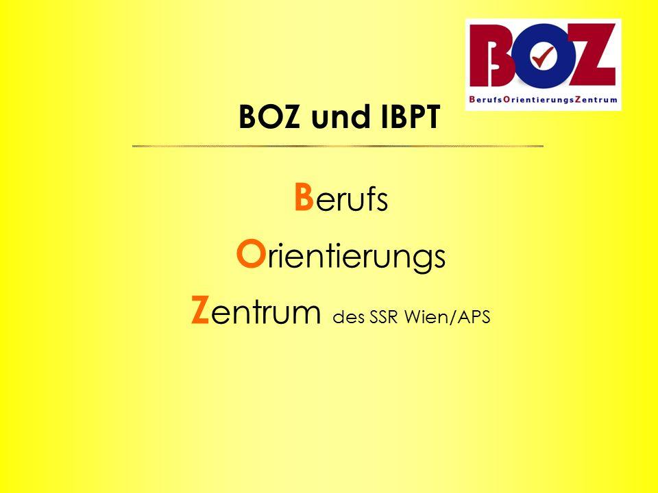 BOZ und IBPT B erufs O rientierungs Z entrum des SSR Wien/APS