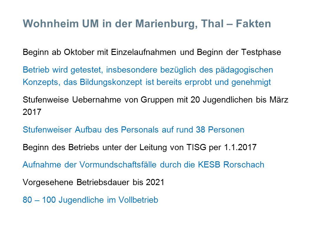 Wohnheim UM in der Marienburg, Thal – Fakten Beginn ab Oktober mit Einzelaufnahmen und Beginn der Testphase Betrieb wird getestet, insbesondere bezüglich des pädagogischen Konzepts, das Bildungskonzept ist bereits erprobt und genehmigt Stufenweise Uebernahme von Gruppen mit 20 Jugendlichen bis März 2017 Stufenweiser Aufbau des Personals auf rund 38 Personen Beginn des Betriebs unter der Leitung von TISG per 1.1.2017 Aufnahme der Vormundschaftsfälle durch die KESB Rorschach Vorgesehene Betriebsdauer bis 2021 80 – 100 Jugendliche im Vollbetrieb
