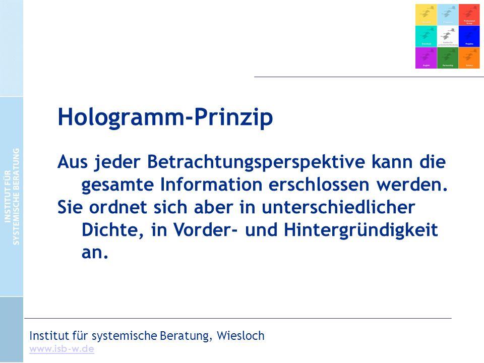 Hologramm-Prinzip Aus jeder Betrachtungsperspektive kann die gesamte Information erschlossen werden.