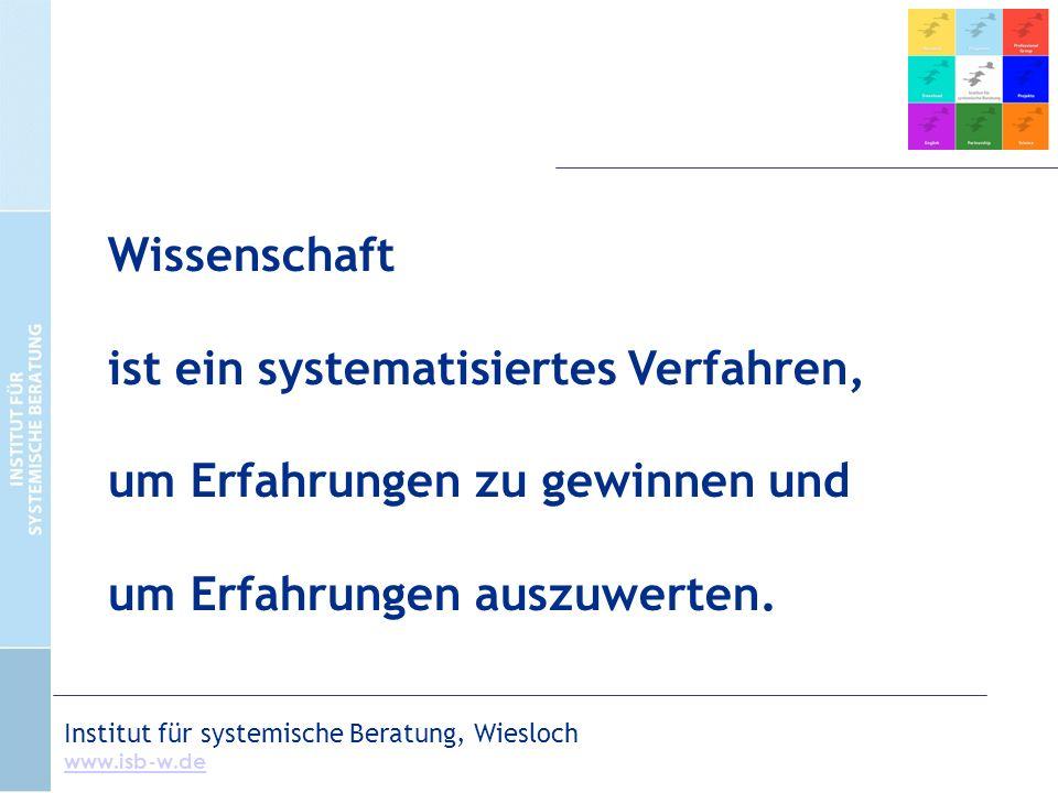 Institut für systemische Beratung, Wiesloch www.isb-w.de Wissenschaft ist ein systematisiertes Verfahren, um Erfahrungen zu gewinnen und um Erfahrungen auszuwerten.