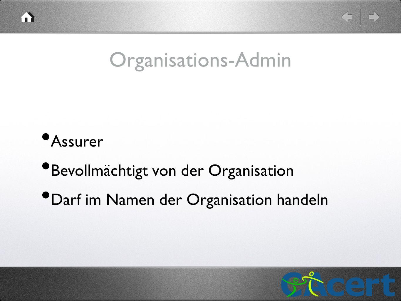 Organisations-Admin Assurer Bevollmächtigt von der Organisation Darf im Namen der Organisation handeln