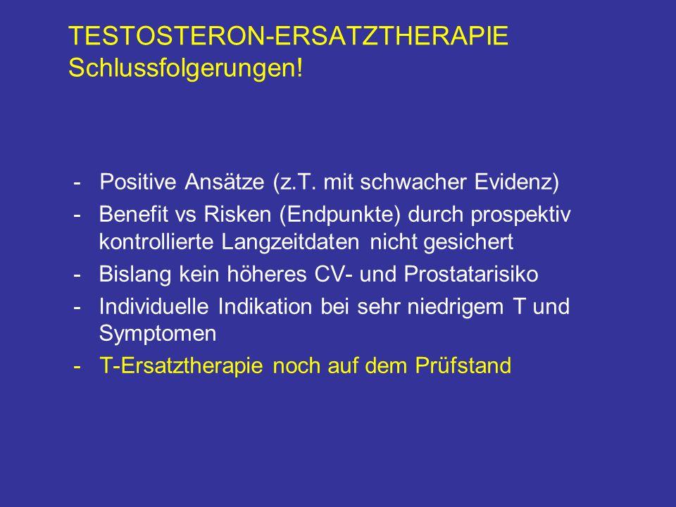 TESTOSTERON-ERSATZTHERAPIE Schlussfolgerungen. - Positive Ansätze (z.T.
