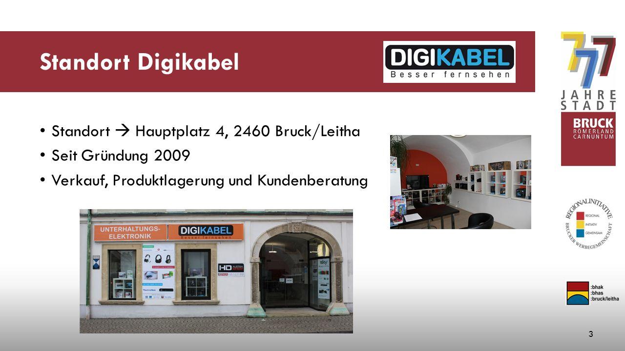 Standort Digikabel Standort  Hauptplatz 4, 2460 Bruck/Leitha Seit Gründung 2009 Verkauf, Produktlagerung und Kundenberatung 3