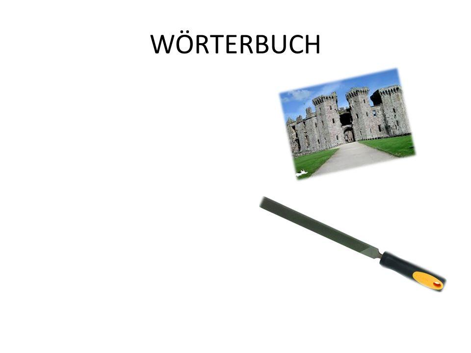 WÖRTERBUCH ◊HERZOG-vojvoda ◊SPITZNAME-vzdevek ◊SCHLOSS-dvorec ◊SORGLOS-brezskrbno ◊JAGD-lov ◊VERWANDTEN-sorodniki ◊VETTER-bratranec ◊LANDLUFT-podeželjski zrak ◊SPIESKARTEN-jedilnik ◊SELBSTMORD-samomor ◊FEILE-pila