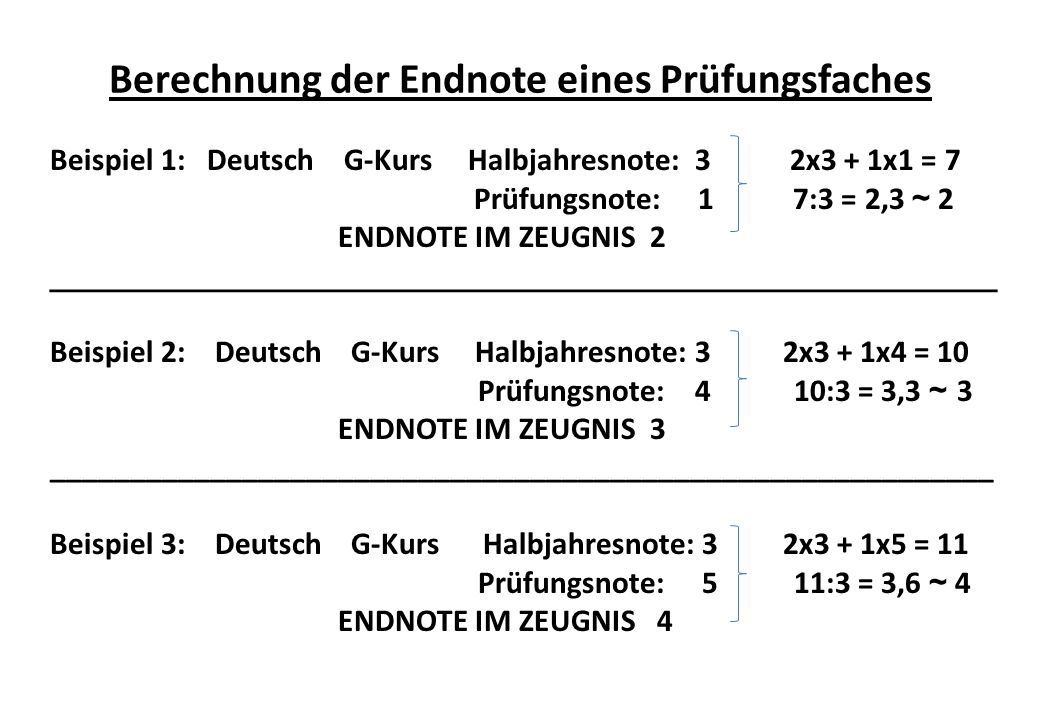 Berechnung der Endnote eines Prüfungsfaches Beispiel 1: Deutsch G-Kurs Halbjahresnote: 3 2x3 + 1x1 = 7 Prüfungsnote: 1 7:3 = 2,3 ~ 2 ENDNOTE IM ZEUGNIS 2 _____________________________________________________ Beispiel 2: Deutsch G-Kurs Halbjahresnote: 3 2x3 + 1x4 = 10 Prüfungsnote: 4 10:3 = 3,3 ~ 3 ENDNOTE IM ZEUGNIS 3 ___________________________________________________________ Beispiel 3: Deutsch G-Kurs Halbjahresnote: 3 2x3 + 1x5 = 11 Prüfungsnote: 5 11:3 = 3,6 ~ 4 ENDNOTE IM ZEUGNIS 4