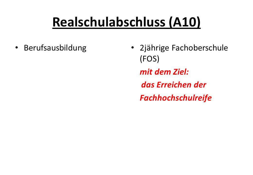 Realschulabschluss (A10) Berufsausbildung 2jährige Fachoberschule (FOS) mit dem Ziel: das Erreichen der Fachhochschulreife