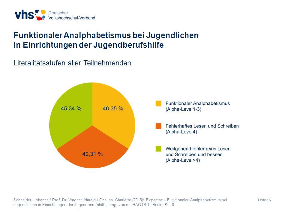 Folie 16 Literalitätsstufen aller Teilnehmenden Funktionaler Analphabetismus bei Jugendlichen in Einrichtungen der Jugendberufshilfe Schneider, Johanna / Prof.