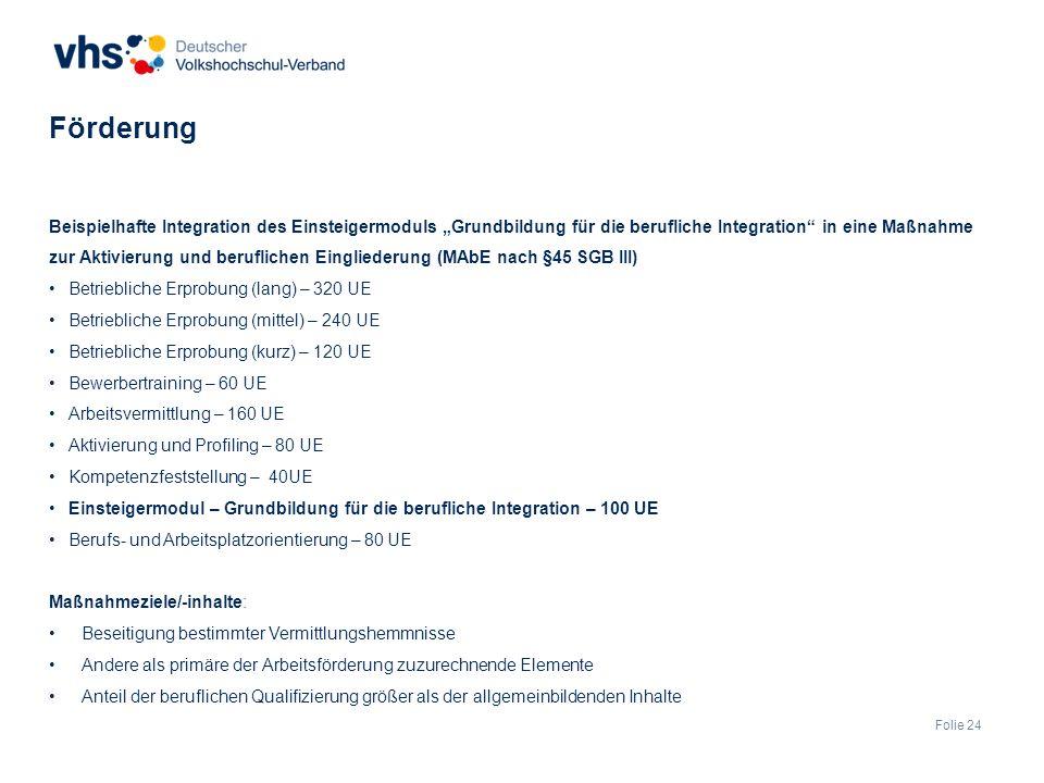 """Folie 24 Beispielhafte Integration des Einsteigermoduls """"Grundbildung für die berufliche Integration in eine Maßnahme zur Aktivierung und beruflichen Eingliederung (MAbE nach §45 SGB III) Betriebliche Erprobung (lang) – 320 UE Betriebliche Erprobung (mittel) – 240 UE Betriebliche Erprobung (kurz) – 120 UE Bewerbertraining – 60 UE Arbeitsvermittlung – 160 UE Aktivierung und Profiling – 80 UE Kompetenzfeststellung – 40UE Einsteigermodul – Grundbildung für die berufliche Integration – 100 UE Berufs- und Arbeitsplatzorientierung – 80 UE Maßnahmeziele/-inhalte: Beseitigung bestimmter Vermittlungshemmnisse Andere als primäre der Arbeitsförderung zuzurechnende Elemente Anteil der beruflichen Qualifizierung größer als der allgemeinbildenden Inhalte Förderung"""