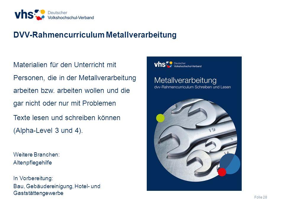 Folie 28 Materialien für den Unterricht mit Personen, die in der Metallverarbeitung arbeiten bzw.