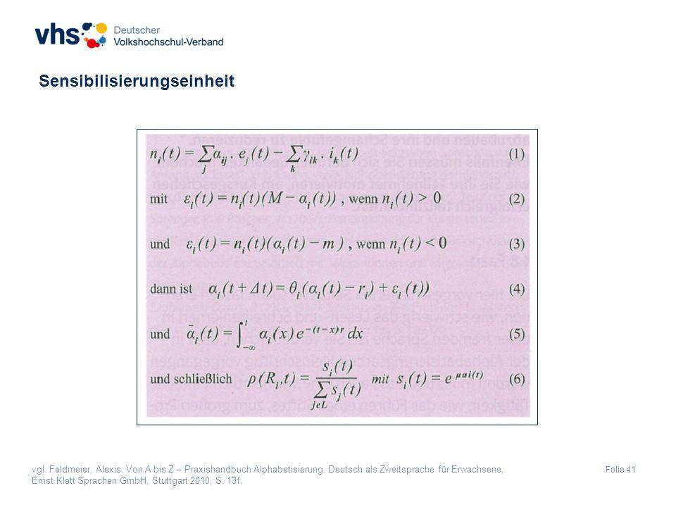 Folie 41 vgl. Feldmeier, Alexis: Von A bis Z – Praxishandbuch Alphabetisierung.