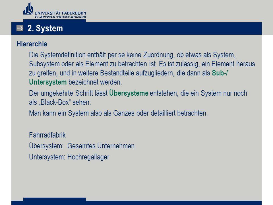 Hierarchie Die Systemdefinition enthält per se keine Zuordnung, ob etwas als System, Subsystem oder als Element zu betrachten ist.