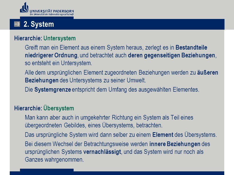 Hierarchie: Untersystem Greift man ein Element aus einem System heraus, zerlegt es in Bestandteile niedrigerer Ordnung, und betrachtet auch deren gegenseitigen Beziehungen, so entsteht ein Untersystem.