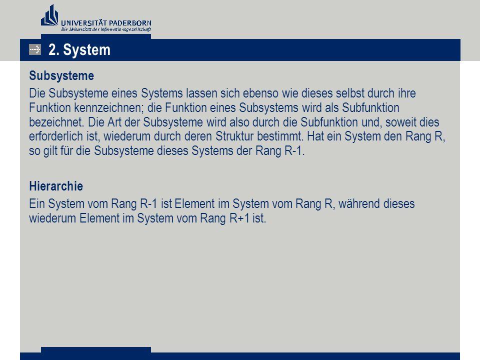 Subsysteme Die Subsysteme eines Systems lassen sich ebenso wie dieses selbst durch ihre Funktion kennzeichnen; die Funktion eines Subsystems wird als Subfunktion bezeichnet.