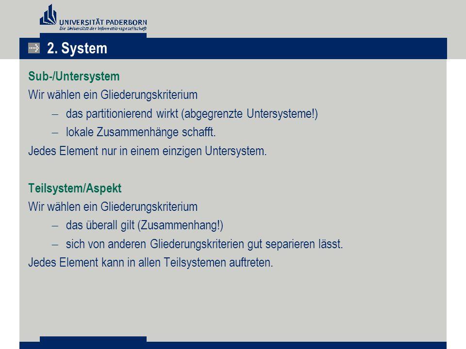 Sub-/Untersystem Wir wählen ein Gliederungskriterium  das partitionierend wirkt (abgegrenzte Untersysteme!)  lokale Zusammenhänge schafft.