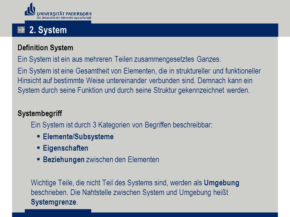 Definition System Ein System ist ein aus mehreren Teilen zusammengesetztes Ganzes.