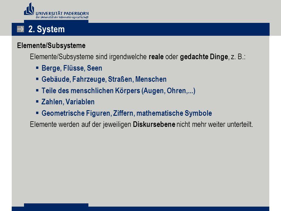Elemente/Subsysteme Elemente/Subsysteme sind irgendwelche reale oder gedachte Dinge, z.