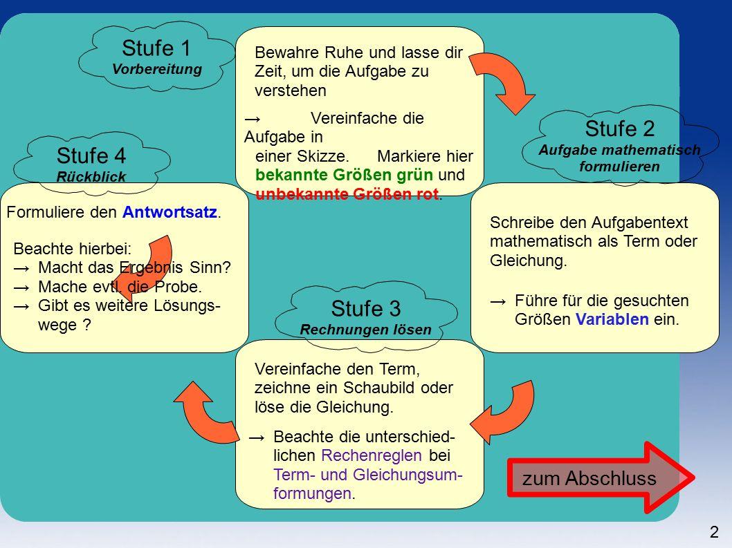 2 Stufe 1 Vorbereitung Bewahre Ruhe und lasse dir Zeit, um die Aufgabe zu verstehen → Vereinfache die Aufgabe in einer Skizze.