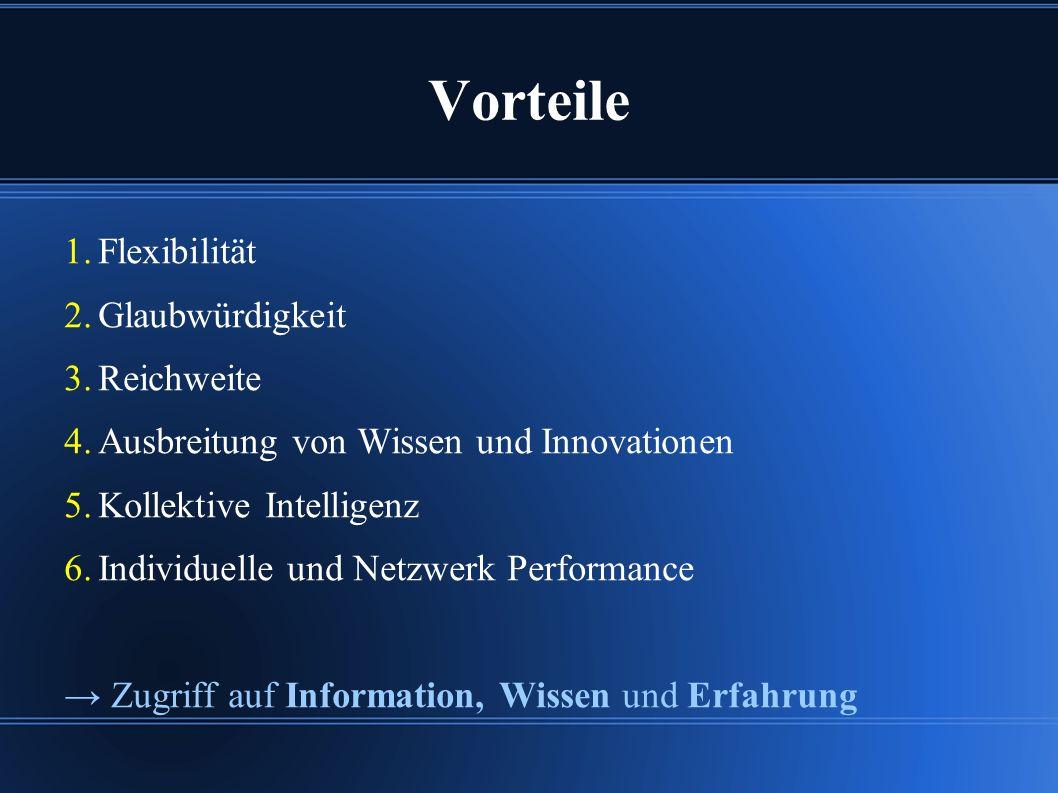 Vorteile 1. Flexibilität 2. Glaubwürdigkeit 3. Reichweite 4.