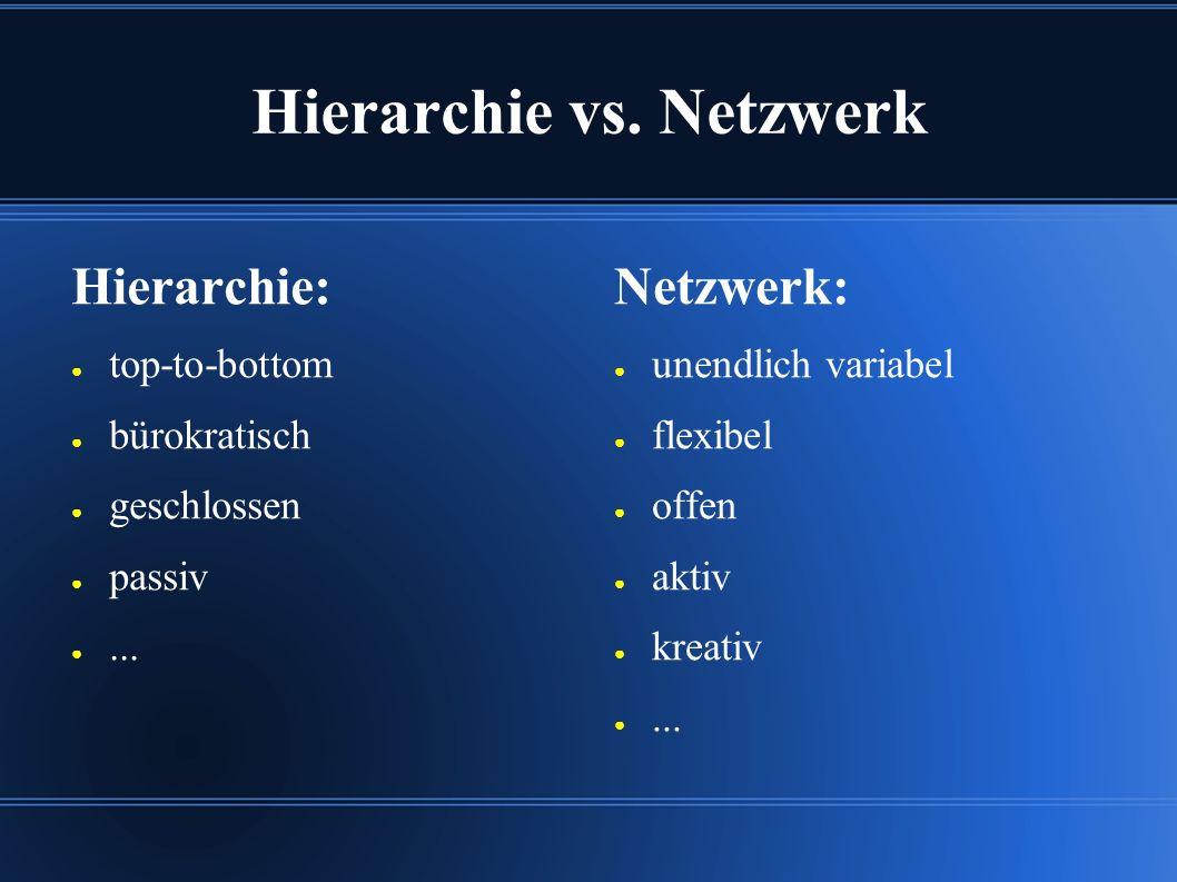Hierarchie vs. Netzwerk Hierarchie: ● top-to-bottom ● bürokratisch ● geschlossen ● passiv ●...