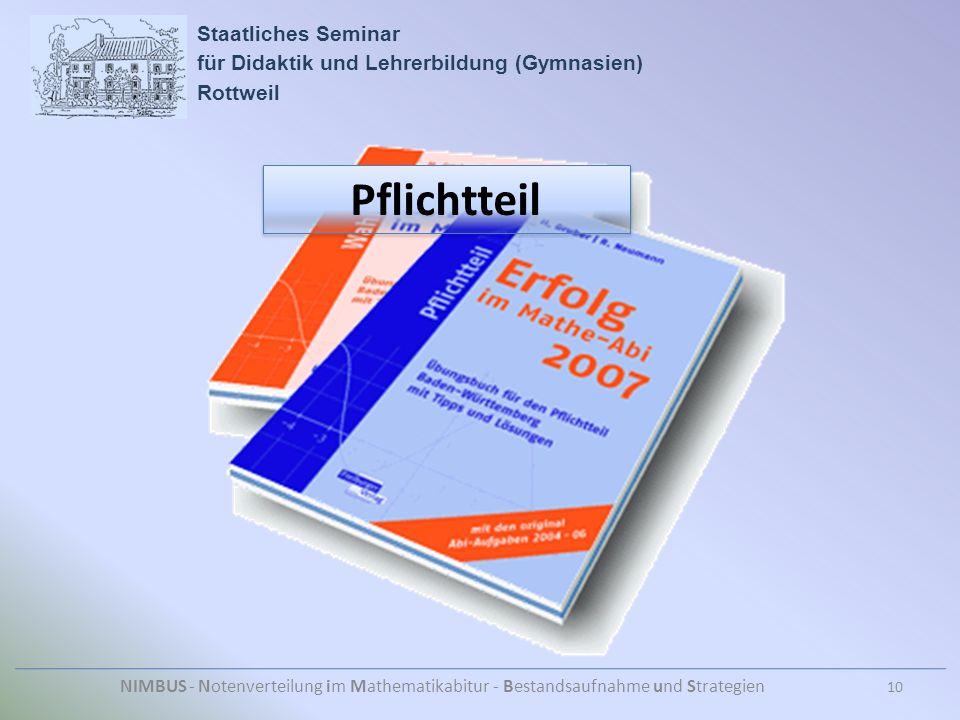 Staatliches Seminar für Didaktik und Lehrerbildung (Gymnasien) Rottweil NIMBUS - Notenverteilung im Mathematikabitur - Bestandsaufnahme und Strategien 10 Pflichtteil